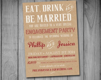 """Printable Engagement Party Invitation Template Kraft Invitation """"Eat Drink and Be Married"""" Red Wedding Shower Card - DIY Wedding"""