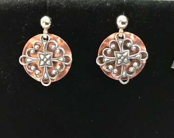 Two toned silver copper earrings