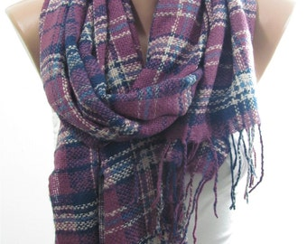Plaid Scarf Flannel Scarf Winter Purple Scarf  Men Scarf Fashion Accessory   For Him Gift For Women Gift For Her Gift For Mom Women Scarf