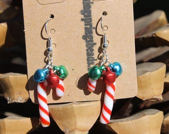 """Hand Crafted Earrings Lampwork Candy Canes w/Green & Red Bells size 1 1/2"""" /# 6"""