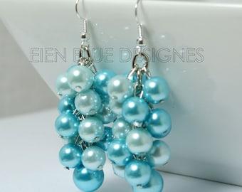 Turquoise & Aqua Cluster Earrings, Pearl Cluster Earrings, Chunky Turquoise Earrings, Aqua Pearl Earrings, Aqua/Turquoise Bridesmaid Jewelry