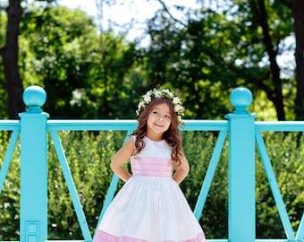 Satin Flower Girl Dress, White and Pink Flower Girl Dress, Dress for Girl, Princess's dress, Unique Flower Girl Dress, Dress for girls,Dress