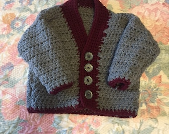 Boys 12mos crocheted sweater