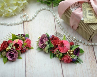 Gift-for-bestfriend Flower girl comb Flower hair piece Bridal comb flower comb Flower girl headpiece Woodland wedding hair Bridal style