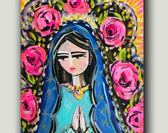 """Modern Mary, """"Guadalupe 4"""", abstract portrait, print on paper or canvas"""