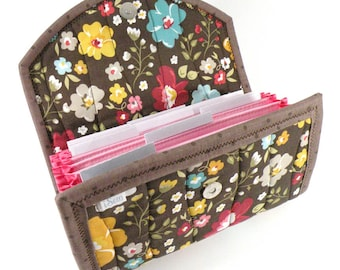 Cash / Coupon / Expense / Receipt Organizer - Chocolate Flowers - Accordion Style Cash Budget Organizer Customizable Organiser Pink