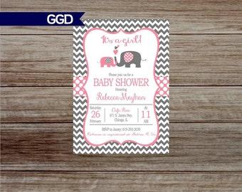 Chevron Baby Shower Invitation, baby girl shower invitation, elephant baby shower invite, pink and gray baby shower
