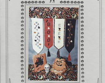 "Clearance - ""Halloween Button Banners"" Counted Cross Stitch Chart by Jemini Designs"