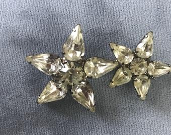 Vintage Rhinestone flowers/Stars Brooch 1950's