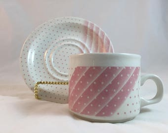 Churchill Pink Dots and Stripes Coffee Mug and Saucer