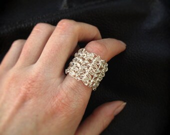 Wire crochet ring, statement wire crocheted ring