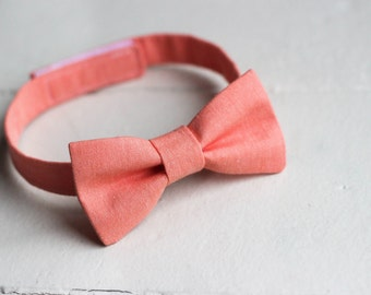 Boys Peach Bow Tie -  Boys Peach Bow Tie, Peach Baby Bow Tie, Little Boys Easter Bow Tie, Peach Toddler Bow Tie, Peach Boys Bowtie
