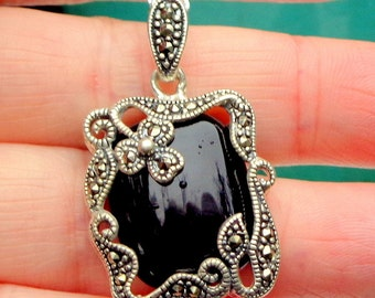 SALE, Neo Victorian, Black Onyx Necklace, Gothic Jewellry, Marcasite Setting,Goth Necklace,Sterling Silver,Vintage Jewelry
