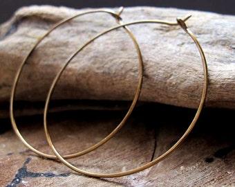 2 inch Hoop Earrings - Bronze Hammered Hoops - Large Modern Ear wires - Round Circle Hoops / Everyday Earrings / Medium Earrings / Delicate