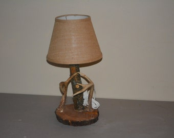 Antler Lamp Wood Base