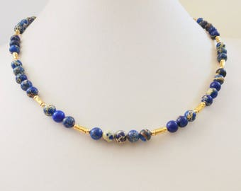 Magnesite and Gold filled beads and tubes. Royal jewel.