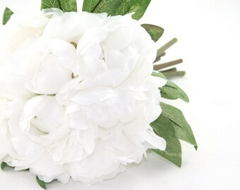 White Peony Bouquet - Artificial Flower Bouquet, Artificial Flower, Wedding Bouquet, Bridesmaid Bouquet, Clutch Bouquet - ITEM 0505