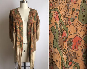 70s fringe leather shawl ~ vintage hand painted suede vest