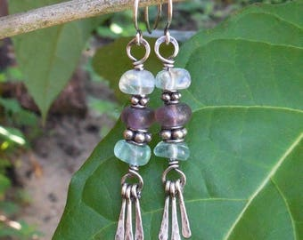 Fluorite earrings, boho dangle earrings, bohemian earrings, bohemian jewelry, boho jewelry, gypsy earrings, silver wire earrings