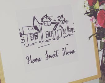 Small Bespoke personalised embroidered framed picture of your home