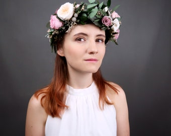 Bridal wedding floral crown with real preserved flowers and greenery, dusty pink peach English peony roses eucalyptus boho wreath, realistic