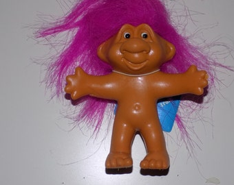 """Vintage Bendable Norfin Troll 3.5"""" Pink Hair Tag"""