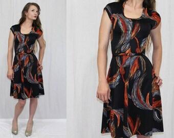 Vintage 70s Novelty Black TASSEL Print A Line Retro Hippie Boho Midi Dress XS