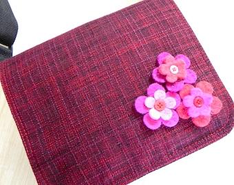 Pink and Purple felt flower satchel bag by Missy Mao Mao