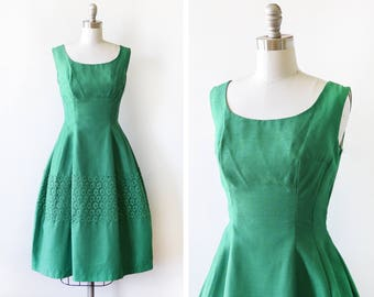 1950s green dress, vintage 50s linen silk lace dress, mid century party dress, small medium sm, emerald green dress