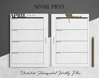 MNML PRNT WO2P Planner Insert   A5 Size   Weekly Horizontal Planner Inserts   Undated   Printable   Instant Download