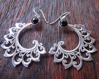 Bali Sterling Silver Earrings / silver 925 black onyx / Balinese handmade jewelry / floral design / 2.35 inches long