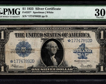1923 One 1 Dollar Silver Certificate Star Note PMG 30 Fr.237* Item #5004642-004