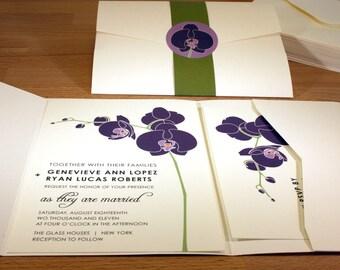 NEW SAMPLE Orchid Pocketfold Wedding Invitation, Modern