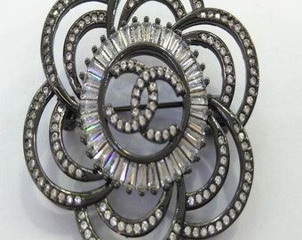 Large 50mm(2inch)  CZ Micro Pave Flower Pin\Brooch Clove CC  CZ Beads Gunmetal  Rose Gold White Silver Beads