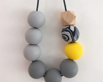 Grey Yellow Statement Bead Necklace, Monochrome Necklace, Black & White Necklace, Geometric Necklace, Minimalist Necklace, Polymer Clay