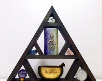 Crystal Display Shelf // New Moon Collection // Triangle Shelf // Crystal Shelf // Dark Stain M-L