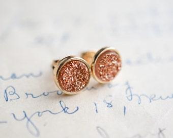 Rose Gold Druzy Earrings - Gold Druzy Earrings - Brown Druzy Earrings - Taupe druzy earrings, Galactic earrings, - trendy earrings