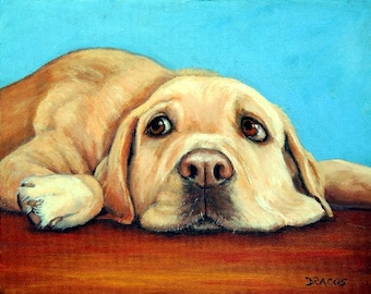Labrador Retriever Art Print of Original Painting Dog Art by Dottie Dracos, Lab Dog Art, lying on Red