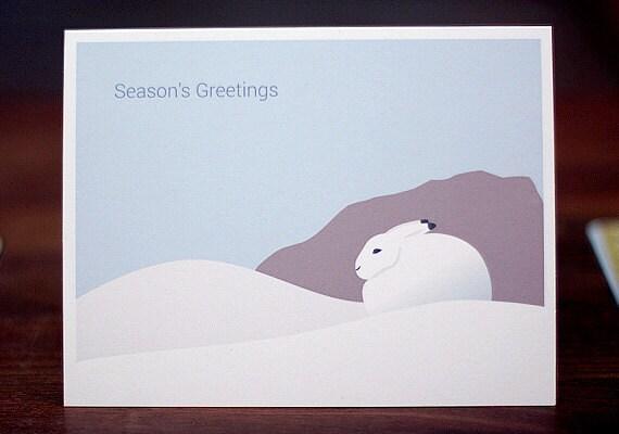 bunny christmas cards minimalist holiday card set of 6