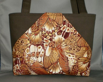 Fabric Tote Bag - Purse - Butterfly - Sassy Pockets - Brown - Gold