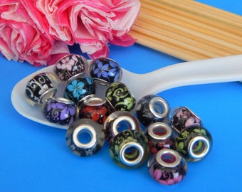 10, Acrylic Flower Beads, European Beads, Whimsical Beads, Brass Cores, Mixed Colors, Floral, Pandora -like, Pendant Lot, Bulk Charms, #239F