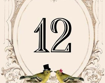 Printable DIY Wedding Table Numbers 1-25 - Digital Download - Customized Vintage Victorian Love Birds Wedding Table Numbers