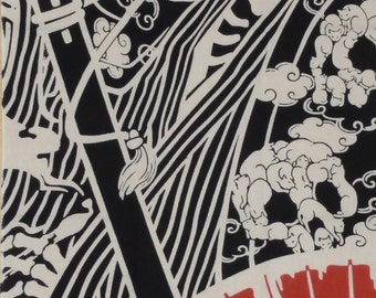 Skeleton Fabric Tenugui Cloth 'Surreal Samurai' Cotton Japanese Fabric w/Free Insured Shipping
