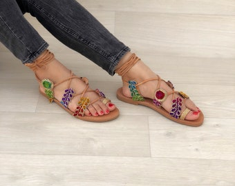 Boho Sandals, Lace Up Sandals, Leather Sandals, Gladiator Sandals, Summer Sandals, Bohemian Sandals, Greek Sandals, Made from Real Leather.