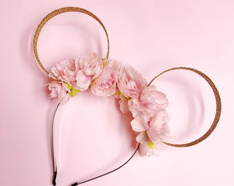 Pink Flower Crown and Gold Glitter Mouse Ears