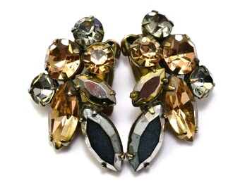 Vintage Regency signed metallic silver gold grey rhinestone clip on earrings