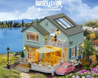 FREE DHL!!!Diy Miniature Wooden Doll House Furniture Kits Toys Handmade Craft Miniature Model Kits DollHouse Toys Gift For Children