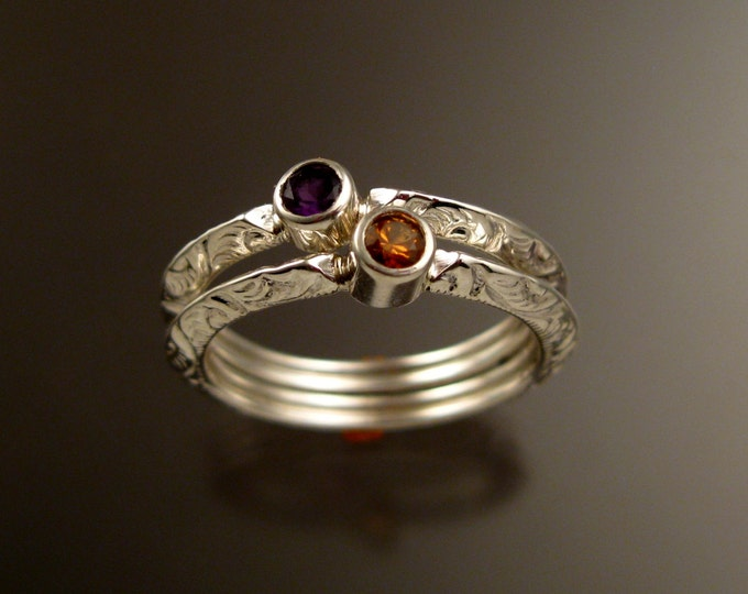 Stackable Mothers ring set Sterling Silver Victorian bezel set natural birthstone rings made to order in your size