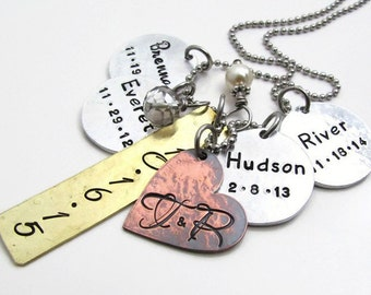 Personalized Necklace - Hand Stamped Jewelry - Mixed Metal Cluster Necklace - Family Necklace - Mom Necklace Layered & Rustic (100)