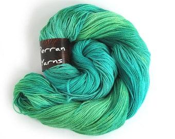 Handdyed 4ply sock yarn, fingering Falkland Merino Silk blend knitting wool, UK spun blue green crochet Perran Yarn Woodland Glade uk seller